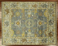 New Veg Dyed Oushak Hand Knotted Wool 8' X 10' Geometric Glaucous Blue Rug H5455 #Manhattanrugs #TraditionalPersianOriental $1017, made where?