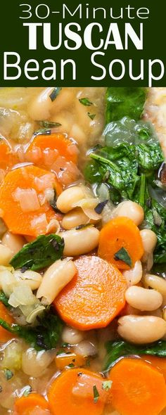 Italian white beans, kale or spinach, carrots, onion, celery. Simple and satisfying weeknight dinner. This EASY bean soup is the answer to the Clean Eating Vegetarian, Vegetarian Soup, Vegetarian Recipes, Healthy Eating, Cooking Recipes, Healthy Recipes, Veggie Dinner Recipes, Clean Eating Soup, Vegetarian Cooking