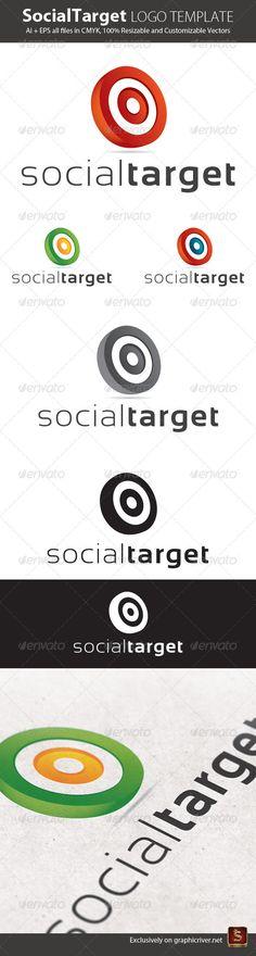 Social Target Logo Template — Vector EPS #3d logo #social logo • Available here → graphicriver.net/...