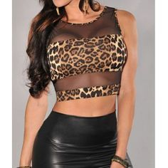 $7.32 Sexy Scoop Neck Voile Splicing Leopard Pattern Backless Women's Crop Top