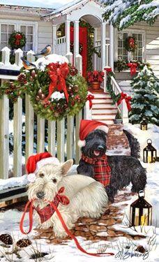 Scottish Terrier - Christmas Welcome (Black & Wheaten)