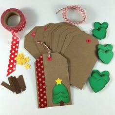 DIY Holiday Christmas Gift Tag Kit (Makes Get started on your Christmas wrapping early! This kit includes everything you need to make 12 DIY holiday/Christmas gift tags. You just provide the adhesive and little helpers to put them all together! Homemade Christmas Cards, Christmas Gift Wrapping, Diy Christmas Gifts, Handmade Christmas, Christmas Holidays, Christmas Decorations, Homemade Gift Tags, Christmas Projects, Happy Holidays