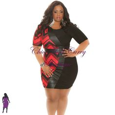 New Plus Size Bodycon Half and Half Black and Red Zig Zag with Faux Leather Center available at  http://www.chicandcurvy.com/bodycons/product/9384-new-plus-size-bodycon-half-and-half-black-and-red-zig-zag-with-faux-leather-center-1x-2x-3x Model: Janna Plus Model MUA: Make Me Blush - Makeup By Jillian Bianca Hair: Hair by Ashelee Photography: Smash Photo Studio