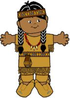 Native American paper doll for Thanksgiving Unit, free printable