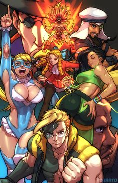"""robscorner: """" Street Fighter V illustration featuring the new challengers and the vanilla return characters for Combobreaker near the end of the month~ """""""