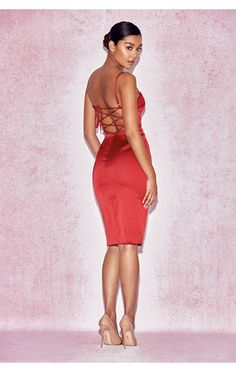 Clothing : Bodycon Dresses : 'Mareena' Red Satin Lace Back Dress