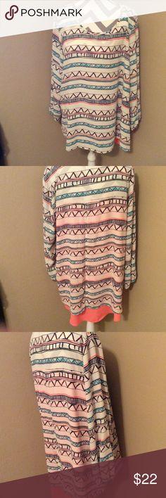Long. Sleeves.  Blouse Washable Size. 2x.  New. Never. Worn. Moa Moa Tops Tees - Long Sleeve