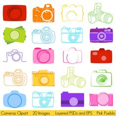 Cameras Clipart, Photography Logo Elements, Layered Editable PSDs and Vectors. $8.00, via Etsy.