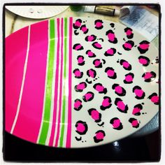 My own platter DIY! Thrift store platter and Martha Stewart permanent acrylic paint. You bake it, then it's permanent!