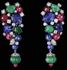 #Cartier ear clips of rubies, sapphires, emeralds & diamonds...#exquisite.