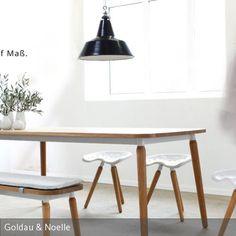 Sitzgruppe LINDA Hochwertiger Ess- und Küchentisch mit Bank und Hocker im skandinavischen Stil. Tisch und Bank als Maßanfertigung online bestellbar unter:…