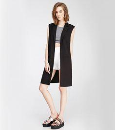 Forever 21 Open-Front Longline Vest in Black