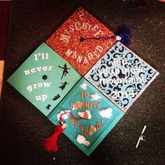 Four graduation caps made by me and my best friends from college :) Quotes from Disney, Harry Potter, and Dr. Seuss<--- wow they're incredible congrats Disney Graduation Cap, Funny Graduation Caps, Graduation Cap Designs, Graduation Cap Decoration, Grad Cap, College Graduation, Graduation Quotes, Graduation Ideas, Harry Potter Graduation Caps