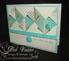 """Building a Chevron Pattern with Deb Valder 5 paper strips 2 1/2 x 1""""  fold 3 - both ends, right to left, then with 2 remaining fold both ends left to right. base 5 1/4 by 4. then layer on 5 3/8 x 4 1/8, then reg size 5 1/2 by 4 1/4"""