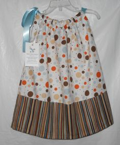 Girls Fall Pillowcase Dress  Brown and Orange by VickysCreation, $15.00