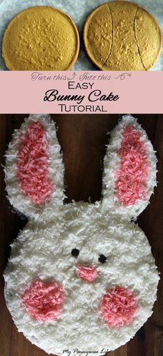Easy Bunny Cake Tutorial: How to make a cute bunny cake with everyday kitchen items. Just 10 easy steps. Includes gluten-free options