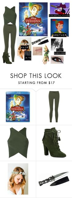 """""""+Me in Peter Pan+"""" by blissfull-darkness ❤ liked on Polyvore featuring Disney, Live the Process, EGREY, Giuseppe Zanotti, Emily Rose Flower Crowns and Balmain"""