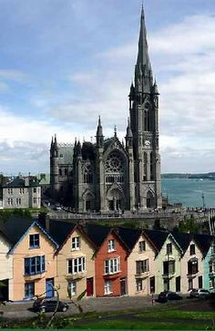 "Cathedral in Cobh, Ireland. Set against the street nicknamed ""The stack of Cards""."
