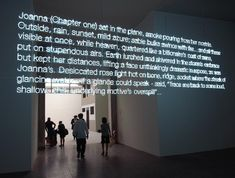 by london-based conceptual artist cerith wyn evans is a text fabricated from white neon letters. the installation hangs suspended over the heads of the viewers, illuminating the otherwise unlit space. The text is from James Merrill, The Changing Light at Sandover.
