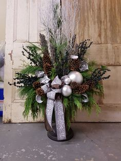 birch tree xmas decration in a metal pail or urn Outdoor Christmas Planters, Christmas Urns, Christmas Flowers, Outdoor Christmas Decorations, Christmas Centerpieces, Christmas Holidays, Christmas Wreaths, Christmas Crafts, Christmas Flower Arrangements