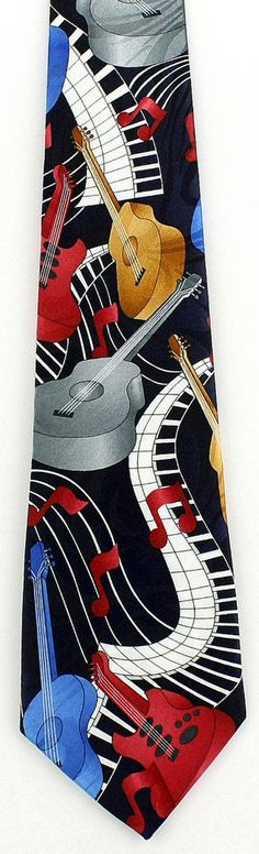 657895617e0a New Piano & Guitar Necktie Musical Instrument Keyboard Acoustic Music Neck  Tie #Fratello #NeckTie