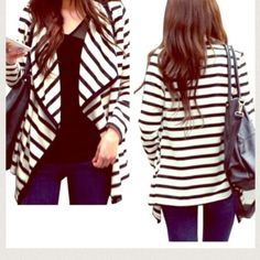 """⚡️HOST PICK⚡️Trendy Light Weight Cardigan! 1 Left! ⚡️HOST PICK⚡️ -- """"NWT Retail: Best in Gifts"""" -- ••Will ship right away• Light-Weight Cardigan! Size US Large! •••FITS True to Size!•• PURCHASE THRU HERE!- ! ✔️.  Material: Cotton Occasion: Casual Sleeve: long sleeve Color: black + white Sweaters Cardigans"""
