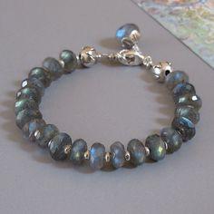 Labradorite Spectrolite Gemstone Sterling Silver Lotus Bead Bracelet via Etsy