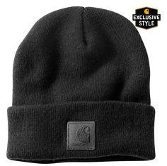 Black on Black Carharrt Acrylic Rib Knit Hat