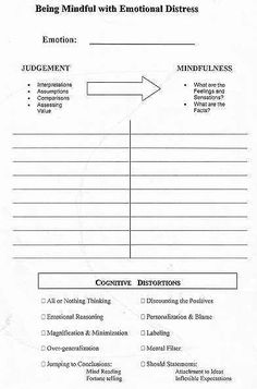 Cognitive Distortions therapy Worksheet and therapy Worksheets Counseling Worksheets, Therapy Worksheets, Counseling Activities, Therapy Activities, Social Work Activities, Cbt Worksheets, Emotions Activities, Health Activities, Mindfulness Activities