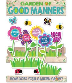 "Good manners will bloom all over your classroom with the helpful reminders in this brightly colored Good Manners mini bulletin board set. Use the Flower box and pre-labeled ""manners"" flowers to create a visual display to highlight nine good manners for st Garden Bulletin Boards, Bulletin Board Design, Preschool Bulletin Boards, Teacher Bulletin Boards, Bulletin Board Display, Manners Preschool, Manners For Kids, Preschool Activities, Teaching Manners"