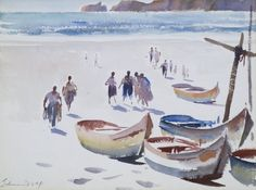 Lot 313- Edward Seago (1910-1974 British) ''The Beach at Nazare, Portugal'' Watercolor on Paper 10.5''x14.25'' Sight. Signed l.l. with Kennedy Galleries, New York label on verso. Total framed size 20.5''x24''.