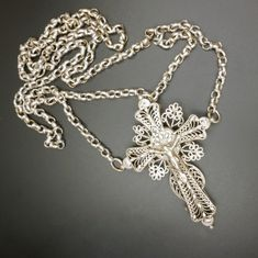Silver Filigree, Antique Silver, Religious Symbols, Spiritual Gifts, Crucifix, 9 And 10, Christian, Chain, Antiques