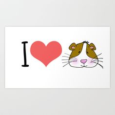 I love / Heart Guinea Pigs Art Print by Anna Brim - $15.60