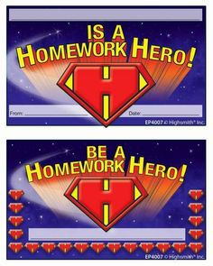 Give kids their own punch cards for completing homework on time! For your class of Homework Heros!