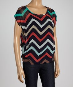 Look what I found on #zulily! Tovia Red & Navy Zigzag Scoop Neck Top by Tovia #zulilyfinds