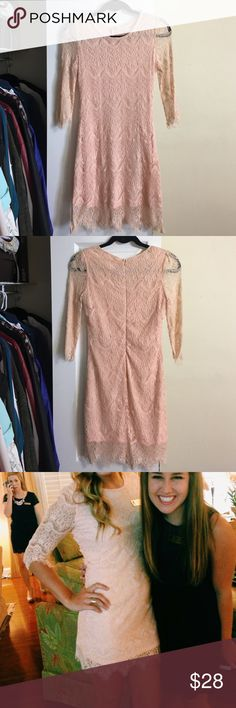 Blush lace dress Such a beautiful dress! In good condition, I just don't have anywhere to wear it anymore! Dresses Mini