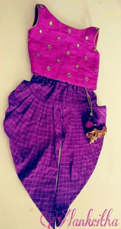 Dhothi pant and crop top Kids Party Wear Dresses, Kids Dress Wear, Kids Gown, Little Girl Dresses, Girls Frock Design, Kids Frocks Design, Baby Dress Design, Kids Lehanga Design, Kids Ethnic Wear