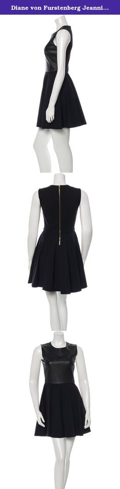 Diane von Furstenberg Jeannie Two Leather Fit & Flare Dress Black/Black Size 6. This fit-and-flare Jeannie has a sophisticated edge in partial leather. Back zip. Full skirt. Nice stretch. Fit is true to size. 45 cm/ 18 in from natural waist. A feminine fit-and-flare silhouette complete with an exposed back zip. Viscose/nylon/elastane; combo: leather; lining: polyester/spandex. Professional dry clean leather expert. Imported. Crewneck, sleeveless, exposed back zip, lined. Style…