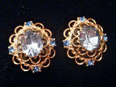 Elegant Immitation Sapphire Clip Earrings. $15.00, via Etsy.