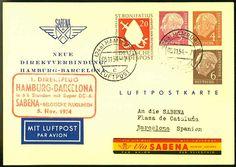 German Federal Republic 1954 Sabena 1. direct flight Hamburg-Barcelona on Heuss private GA from HH 5. 11. 54