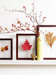 25 Fall Mantel Ideas - Let autumn colors, fall foliage and Halloween fun inspire your mantel decorations.