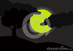 Illustrations vector a beautiful view of the full moon at night