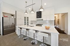 Hamptons kitchen with earth honed terrazzo installed in the Kitchen floor