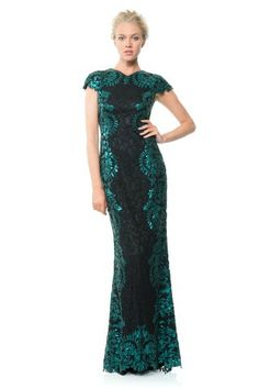 Tadashi Shoji Contrast Paillette Embroidered Lace Panel Gown