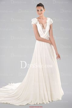 Porcelain V-neckline Chiffon Wedding Gown with Appliques and Keyhole Back BEACH!!!