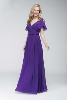 Floor length crystal chiffon A-line bridesmaid dress with front V neckline and fluttered short sleeves.  Double faced satin ribbon at waist.