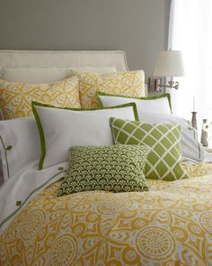 Shop luxury bedding sets and bedding collections at Horchow. Browse our incredible selection of full, queen, and king size luxury bedding sets. Bedroom Green, Home Bedroom, Bedroom Decor, Bedroom Curtains, Bedroom Colors, Bedroom Suites, Pretty Bedroom, Master Bedrooms, Cute Bedroom Ideas