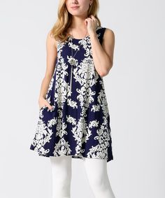 Take a look at this Navy & White Damask Pocket Sleeveless Tunic - Plus today!