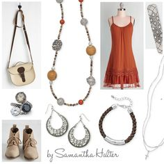 Become a bohemian babe with natural colors and intricate accessories. Love this look for going downtown or picnic lake side.  Premier Designs pieces featured: Melon Madness necklace ($41), City Girl ring set ($45), Crescent earrings ($29), Organic bracelet ($23), Shine necklace ($19), The Right Tuft bracelet ($36).