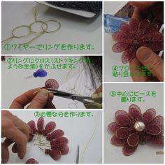 Diy Flowers, Beaded Flowers, Nylon Crafts, Burlap Flower Wreaths, Lace Jewelry, Flower Making, Elsa, Crochet Necklace, Hair Styles